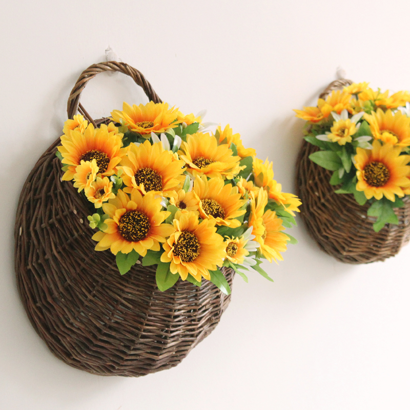 Us 25 39 1 Set Rural Sunflowers Small Large Wall Mounted Wicker Rattan Basket Artificial Flower Home Wedding Decorative Fake Flowers In