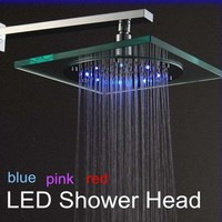 Temperature Sensing 3 Color (Blue,Pink,Red) Changing Shower Head LED Overhead Shower Chromed Brass Rain Shower TS09 1