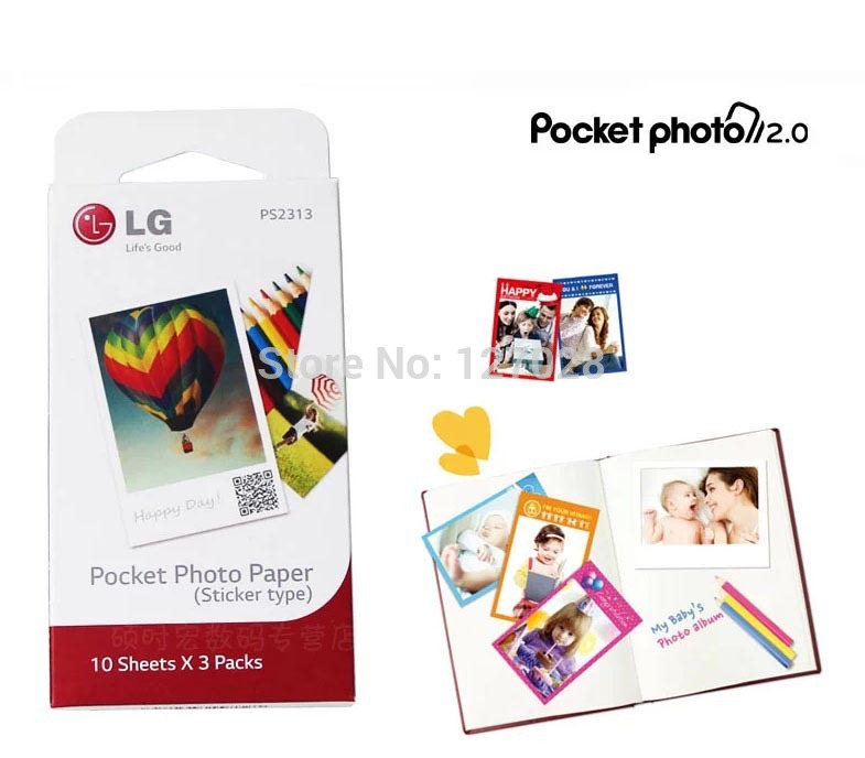 Wtsfwf Freeshipping 30pcs/bag Zink Pocket Photo Printer Paper PS2313 Mobile Photo Printer Paper For LG PD233 PD239 PD259 image