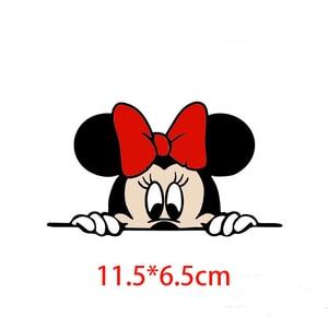 Image 4 - Bonita y divertida caricatura de Mickey y Minnie, calcomanías adhesivas para coche, espejo retrovisor del coche, parachoques, cuerpo, cabeza, estilo creativo, patrón de vinilo