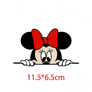 Image 4 - Funny Cute Cartoon Mickey And Minnie Car Decals Stickers Car Rear View Mirror Bumper Body Head Creative Styling Patterned Vinyl