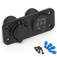 Marine Carvan LED Duel 2 USB Port Charger With DC Voltmeter Digital For Auto Motorbike Boat