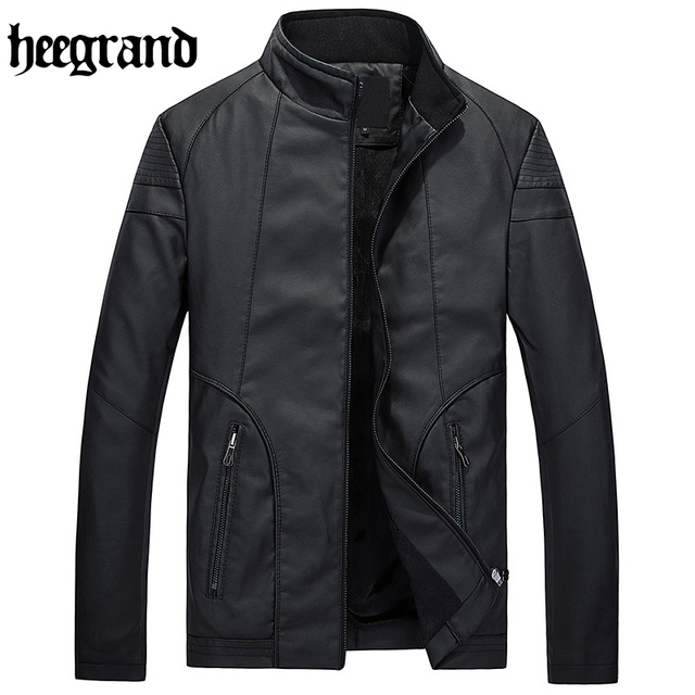 HEE GRAND 2017 Leather Jacket Men Thickening Warm Outwear Fur Collar Mens Leather Jackets And Coats Plus Size M-3XL MWP334