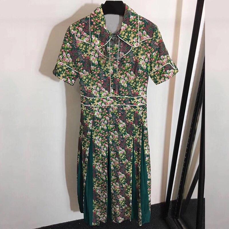 Été rétro robes 2019 vert Floral robes femmes a-ligne robe avec manches courtes femmes imprimer Vintage drapée robe décontracté