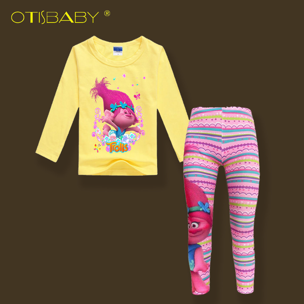 2017 Spring Autumn Kids Trolls Long Sleeve T-shirts & Pink Long Leggings for Girls Cotton Soft Clothing Set Teens Casual Suit стоимость