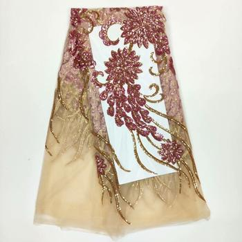 NEW African Lace Fabric, French Sequins Net Lace Noble Gold Sequins Fabrics High Quality African Tulle Sequins  WHUIJUN141