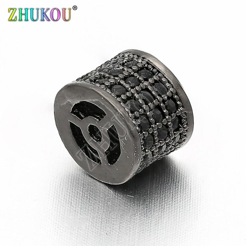 Perles despacement en laiton zircon cubique 8*6mm pour accessoires de bijoux à bricoler soi-même, trou 1mm, modèle VZ80