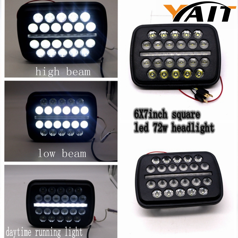 YAIT 5''x7'' 6''x7'' High Low Beam Led Headlights for Jeep Wrangler YJ Cherokee XJ H6054 H6054LL 6052 6053 with Angel Eyes DRL 2pcs brand new high quality superb error free 5050 smd 360 degrees led backup reverse light bulbs t15 for jeep grand cherokee