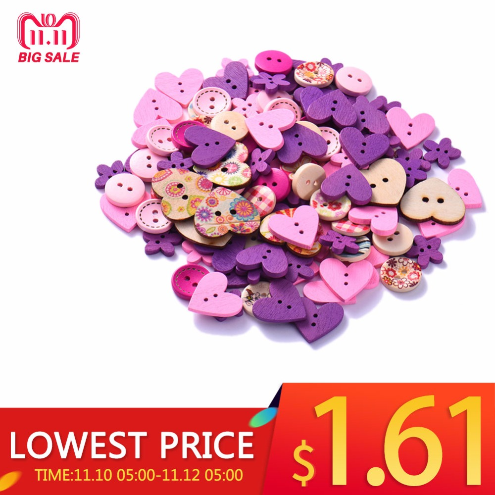 100PCs Heart Shell Buttons For Clothing Decorative Buttons For Needlework Handma