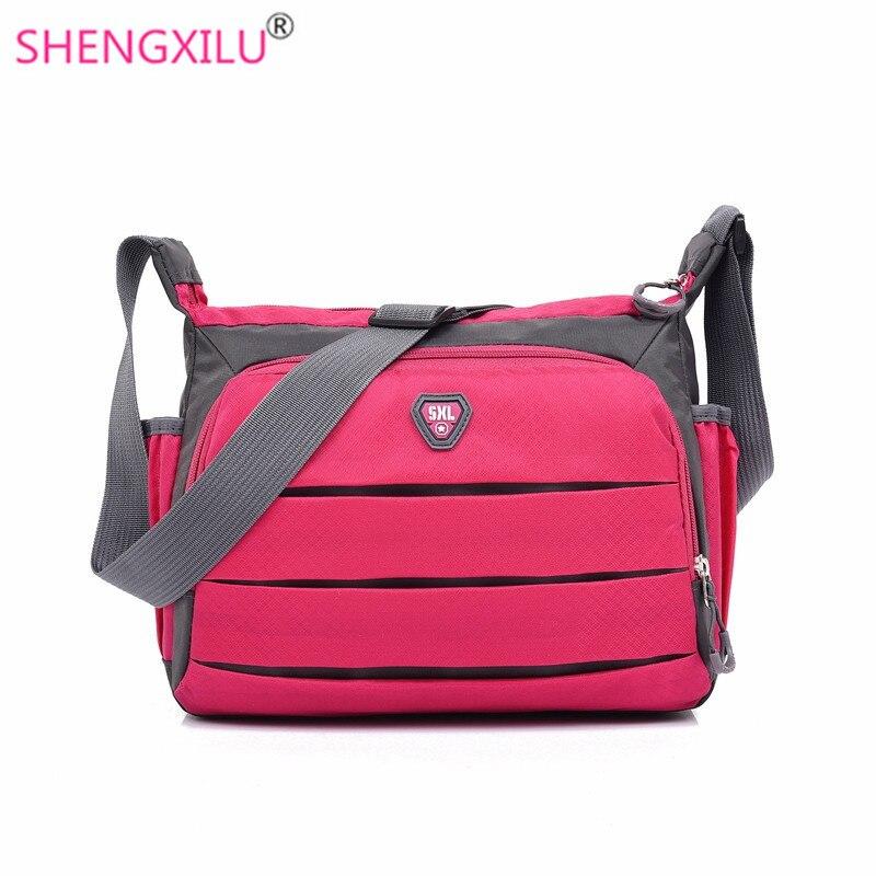 Shengxilu travel women messenger bags casual girls crossbody bags nylon shoulder bag brand logo candy colors small handbags  цена