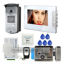 FREE SHIPPING 7″ Video Intercom Home Door Phone System 1 White Monitor 1 HD RFID Reader Camera Electric Lock In Stock Wholesale