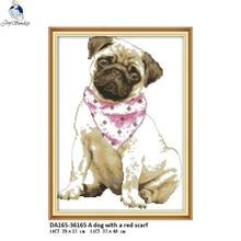 Joy Sunday A dog with a red scarf Pattern DMC 11ct 14ct Counted Chinese Cross Stitch Kits DIY Handmade for Embroidery Home Decor