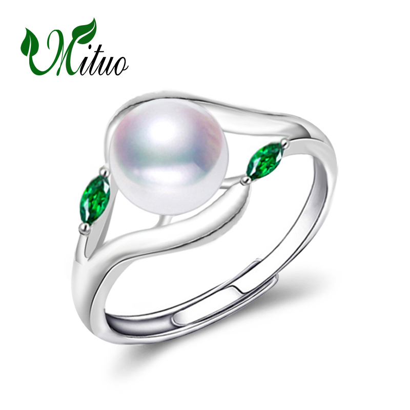 MITUO Pearl Wedding Cute Romantic Rings,pearl Jewelry 925 Sterling Silver Freshwater Emerald Ring For Women Gift,jewelry Box