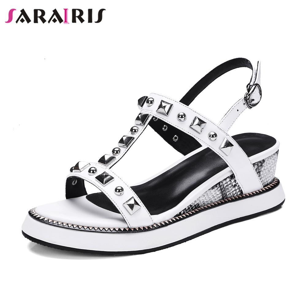 SARAIRIS 2019 women s Shoes cow genuine leather best quality rivets comfort leisure girls date summer