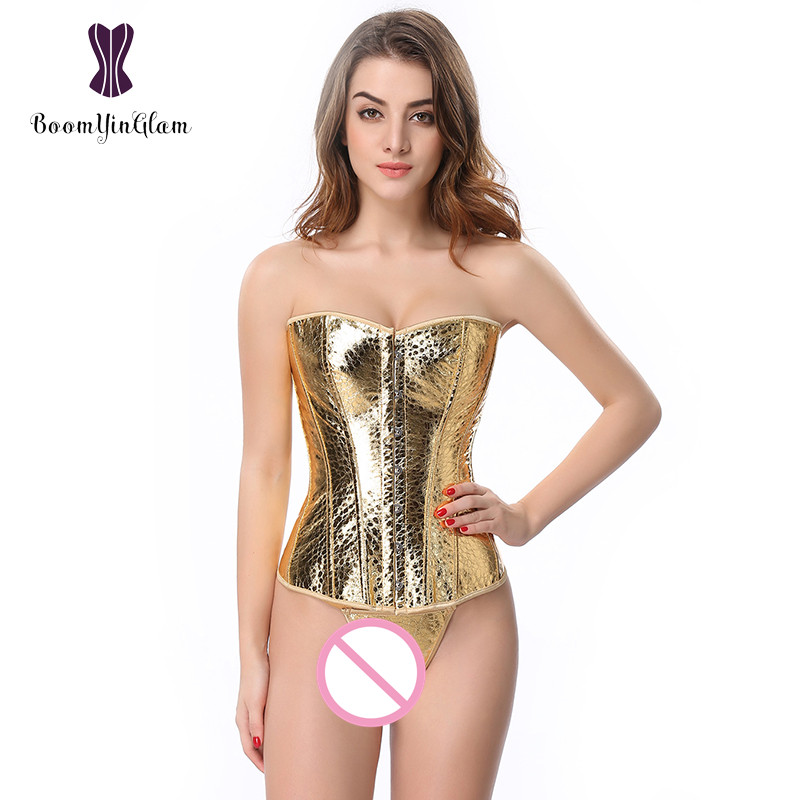 Plus Size Waist Trainer Leather Material Sexy Lingerie Dancewear Costumes Women'S Gold Sequin   Corset     Bustier   845#