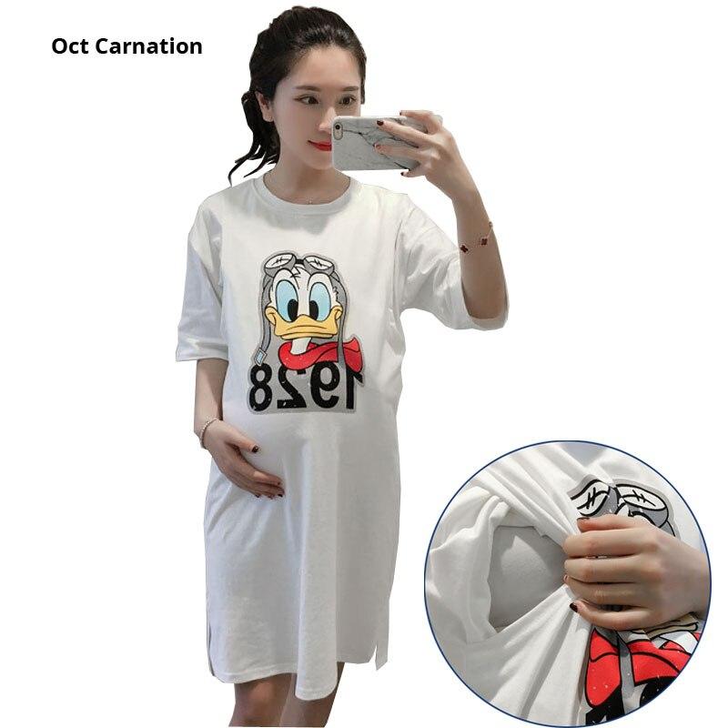 af97518a52 Cartoon Pattern White Cotton Breastfeeding Dress Short Sleeve Cute Long  T-shirt Dresses Pregnancy Clothes Nursing Clothes