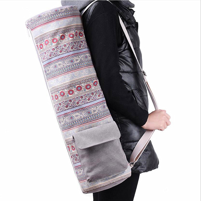 Canvas Backpack Yoga Mat Waterproof Backpack Multi-Function Large Capacity Storage Shoulder Thickened Sports Fitness Bag