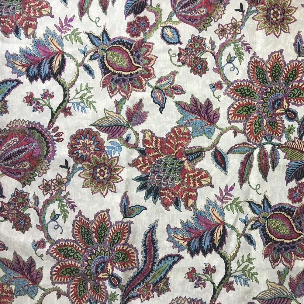 Americano floral impressão digital tecido travesseiro tecido estofamento sofá poltrona pano decorativo vender por metro 140cm de largura