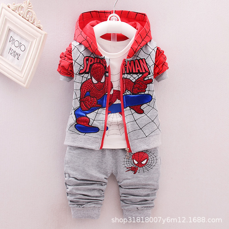 New Style Baby kids Clothing 3pcs Suit/set Children Spiderman Long Sleeves T-shirt+Patchwork Pants SetsNew Style Baby kids Clothing 3pcs Suit/set Children Spiderman Long Sleeves T-shirt+Patchwork Pants Sets