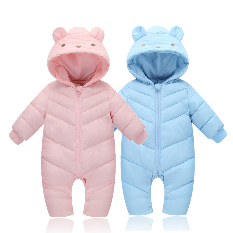 Baby Winter Romper For Girls Hooded Windproof Snowsuit For Baby Boys Thick Warm Infant Clothes 3M-24M XW puseky 2017 infant romper baby boys girls jumpsuit newborn bebe clothing hooded toddler baby clothes cute panda romper costumes