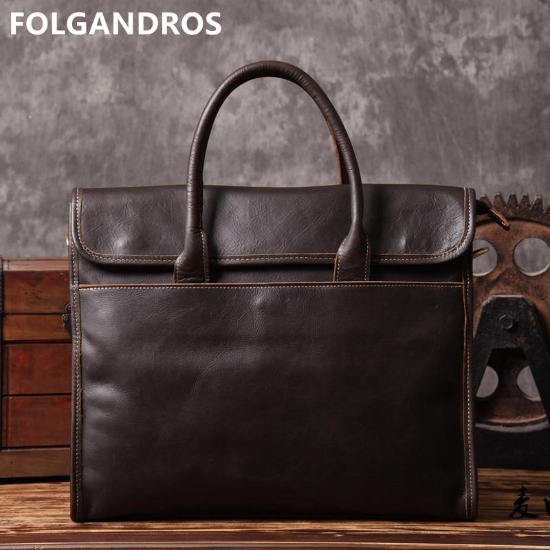 2018 Handmade Genuine Leather Men Handbag Designer Classic Vintage Shoulder Bag Male Large Travel Tote Laptop Computer Briefcase