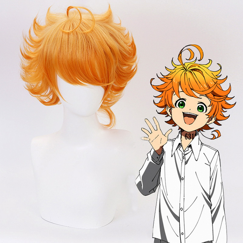 Anime The Promised Neverland 63194 Emma Orange Short Curly Cosplay Wig Yakusoku no Neverland Synthetic Hair Perucas
