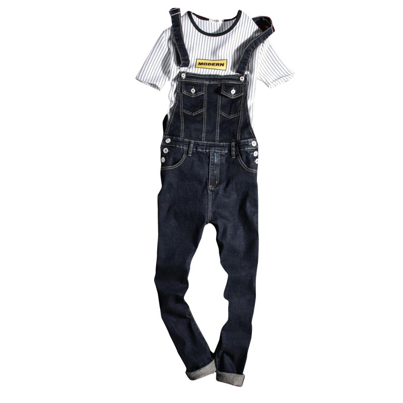 Black Denim Overalls Men Bib Jeans Spaghetti Strap One Piece Jean Jumpsuits For Adult Mens Cotton Suspender Pants XXXL 2017 summer new men denim strap pantyhose tide one piece suspenders denim overalls pants bib trousers jeans singer costumes