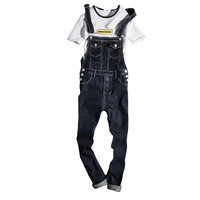 Black Denim Overalls Men Bib Jeans Spaghetti Strap One Piece Jean Jumpsuits For Adult Mens Cotton Suspender Pants XXXL