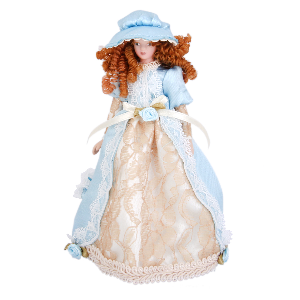Dollhouse Miniature Porcelain Cute Dolls Victorian Lady in Dress Hat Stand Pretend Play Classic Dolls Creative Gifts Presents diy doll house villa model include dust cover and furniture miniature 3d puzzle wooden dollhouse creative birthday gifts toys