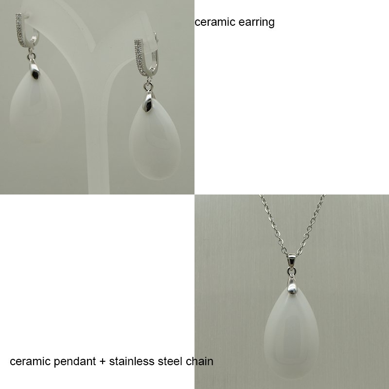 women/girl elegant water drop cz stone ceramic hoop earring pendant set