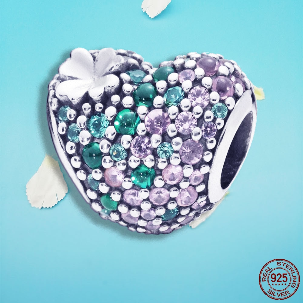 spring new 925 Sterling Silver bead Gleaming Clover Heart Charm Fit Original Pandora bracelet for woman DIY jewelrly or gift