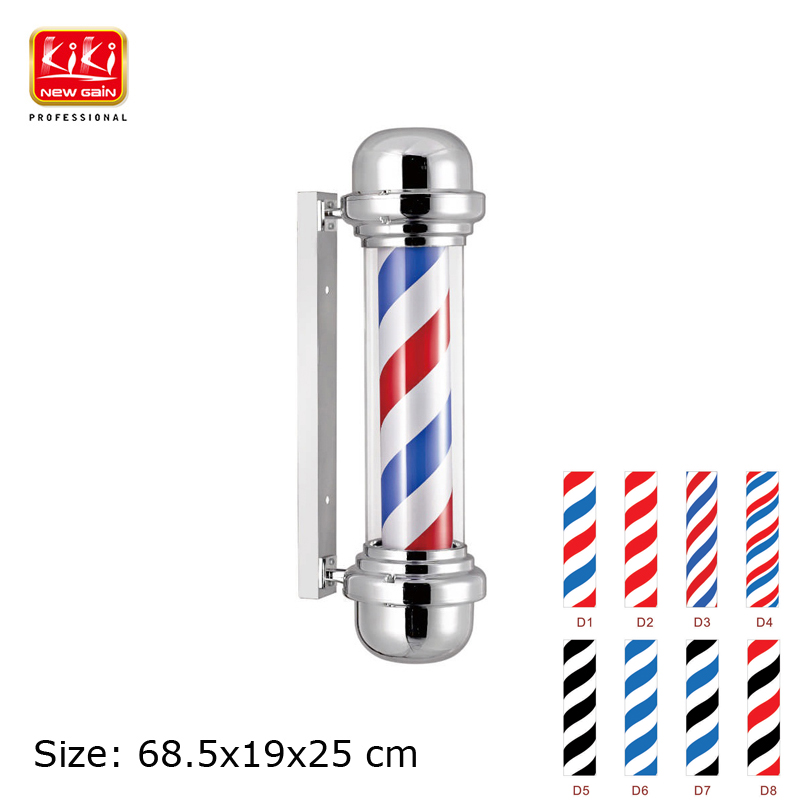315d size roating stainless steel barber pole with lamp for D sign shop