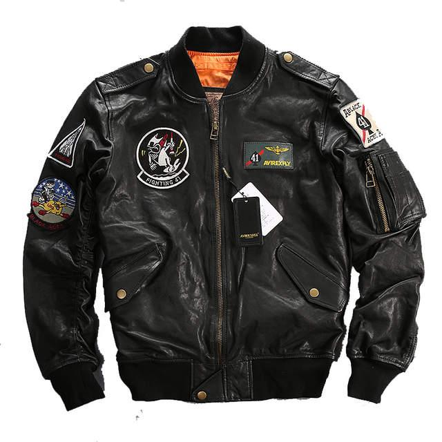 835c30ab1 2016 Men Black Top Gun Leather Pilot Jacket Real Sheepskin Short Plus Size  XXXL Men Winter Military Russian Coat FREE SHIPPING