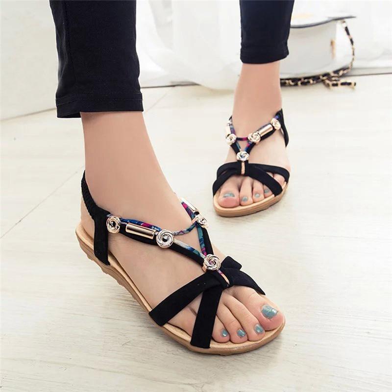 Hot Sale Summer Sandals Shoes Women Peep toe Low Flat Shoes Roman Style Fashion String ...