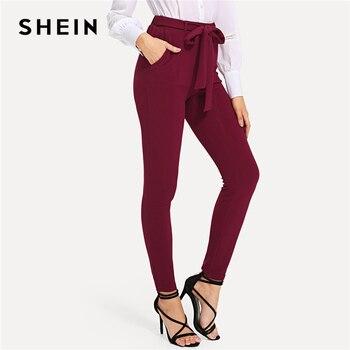 Shein Burgundy Elegan Diri Dasi Kurus Solid Simpul Elastis Pinggang Tengah Celana Musim Semi Musim Gugur Wanita Akhir Pekan Kasual Celana