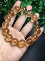 big 14mm High Quality Pure Natural Brazil Yellow Crystal Bracelet Lucky Round Beads Bracelet Fashion Jewelry Christmas Gift