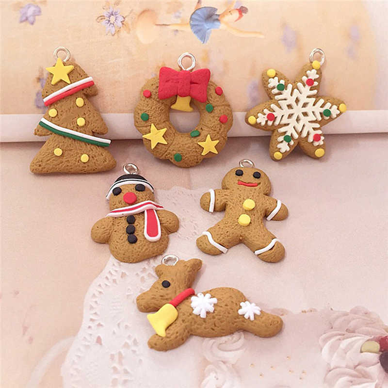 6/11 Pcs Mini Gingerbread Man Christmas Ornaments Deer Snowman Chrismas Tree Pendant Decoration New Year Decor Party Supplies