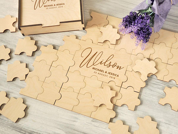 Wooden Letter Puzzle Guest Book Alternative Personalized Wedding Guestbook