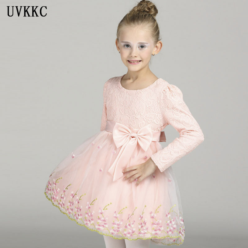 Fashion Embroidery Flower Girls Dress Bow Tie Pink Wedding Pageant 2018 Spring Long sleeve Princess Party Dresses Girls Clothes new christmas flower girls dress lace embroidery trumpet wedding pageant birthday summer princess party dresses clothes 3 12yrs