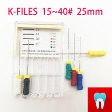 6 шт./упак.#15-40 25 мм стоматологические K файлы корневой канал Endo файлы стоматологические инструменты ручные файлы из нержавеющей стали K Файлы стоматология лабораторные инструменты