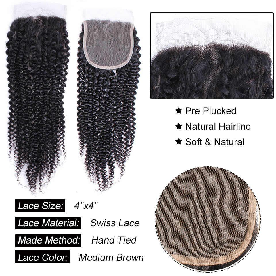 Афро кудрявые вьющиеся кружева закрытие бразильские не Реми волосы человеческие волосы натуральный цвет 8-20 дюймов 4x4 кружева закрытие свободный часть стиль