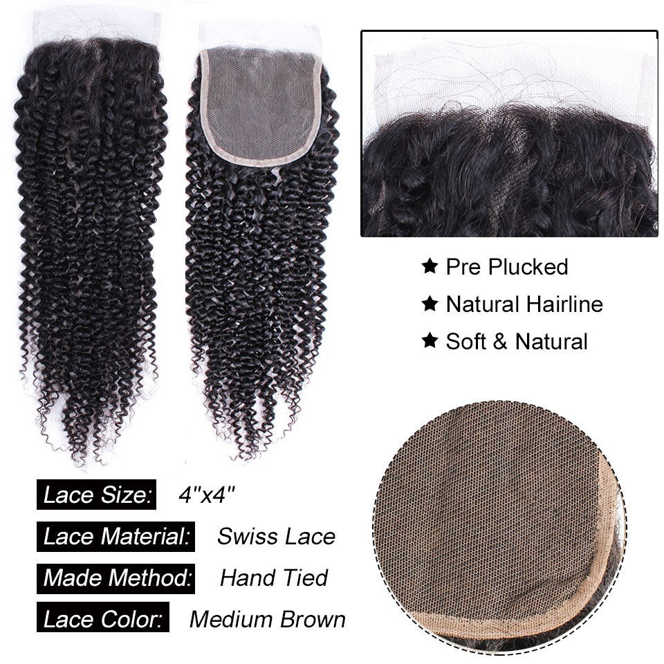 Afro Kinky Curly Lace Closure Brazilian Non Remy Human Hair Natural Color 8-20 inch 4x4 Lace Closure Free Part Style