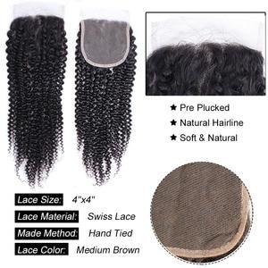 Image 4 - Bobbi Collection Afro Kinky CURLY ลูกไม้ปิดบราซิล Remy มนุษย์ผมสีดำธรรมชาติ 8 20 นิ้ว 4x4 ปิดลูกไม้