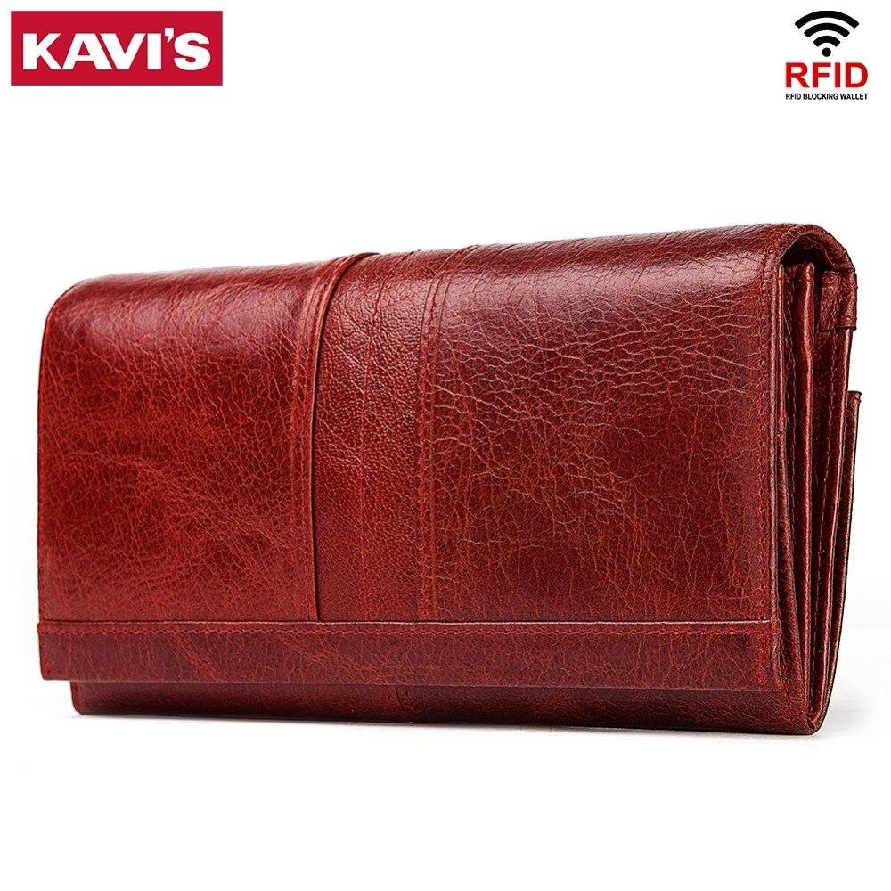 KAVIS 100% portefeuille femme en cuir véritable pochette et porte-monnaie femme sac de téléphone de haute qualité porte-carte porte-passeport pratique