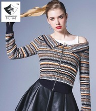 SHD125 Women A strapless stitching agaric thin knittedt sweater
