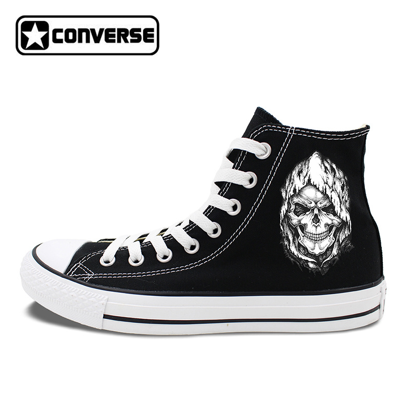 Death Skull Element Black Shoes Men Converse Canvas Sneakers High Tops Flat Chucks Taylor Women Skateboarding Shoes