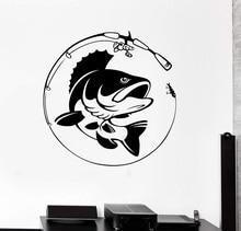 Décor de maison vinyle mur décalcomanie poisson canne à pêche passe temps pêcheur autocollant Mural Unique cadeau décalcomanie intérieur papier peint 2KN8