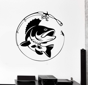 Image 1 - Home Decor Vinyl Wall Decal Fish Fishing Rod Hobby Fisherman Sticker Mural Unique Gift Decal Interior Wallpaper 2KN8