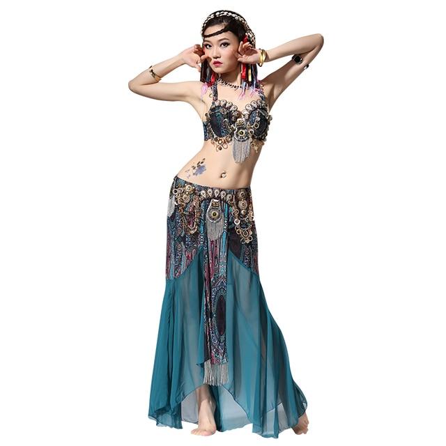28ecfdfb9 Stage Performance Women Dancewear Tribal Bellydance Outfit Set C D Cup  Coins Bra Skirts Belly Dance Costume 2pcs Bra Skirt