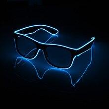 מהבהב משקפיים EL חוט LED משקפיים זוהר ספקי צד תאורת חידוש מתנה בהיר אור פסטיבל המפלגה זוהר משקפי שמש
